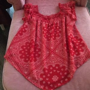 Red and white blouse size1X
